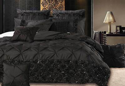 Queen / King / Super king Samania Black sequins Quilt Cover Set with options