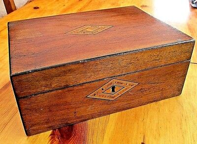 Stunning Antique Trinket / Sewing Box With Inlay And Lift Out Tray.