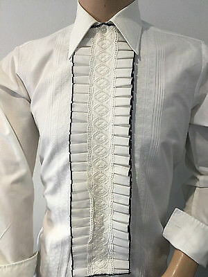 "Pleated FORMAL SHIRT & Separate TUXEDO Ruffled FRILLED Rael Brook 46 X 16"" XL"