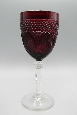 Estate Cristal d' Arques Durand Water Goblet Ruby Red Glass Clear Stem Crystal