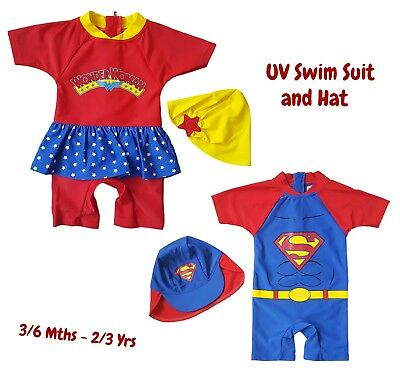 Boys Girls Baby Kids Swimsuit 1 Piece Sun Safe Swimming Costume UV Hat SUPERMAN