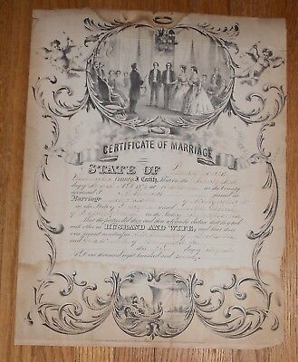 1870 ANTIQUE MARRIAGE Certificate Beallsville PA Washington County ...