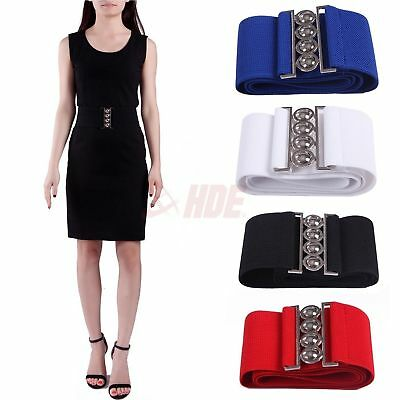 "Fashion Lady Women's Elastic Cinch Belt 3"" Wide Stretch Waist Band Clasp Buckle"