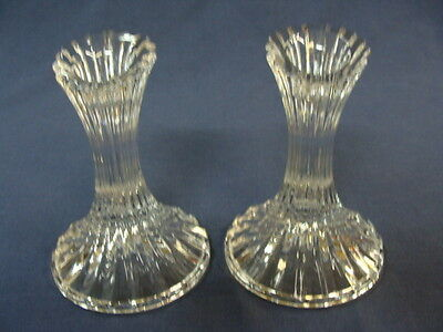 Pair Of Crystal Glass  Candlestick Candle Holders, Ribbed Pattern