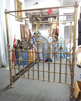 ANTIQUE VICTORIAN Gilded Finish IRON BED WITH CANOPY