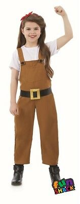 Girls Land Girl Costume 40s 40s WWII Fourties Fancy Dress Outfit