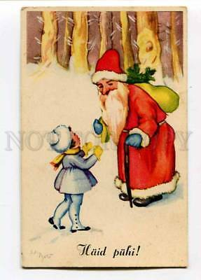 3027428 Red-Robed SANTA CLAUS & Girl Vintage PC
