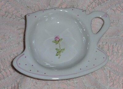 Vtg Hand & Heart Tea Bag Spoon Rest Floral Pink Rose Ceramic Kettle Shaped Rest