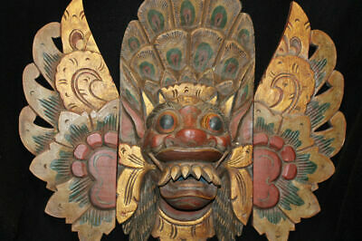 Barong Singa Mask Boma Hand Carved Wood Balinese Indonesian Folk art