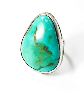 Vintage Sterling Silver Large Heavy Turquoise Handcrafted Ring 29mm Size 6