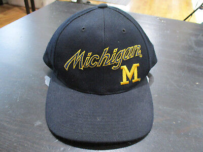 c5f793c0e VINTAGE Sports Specialties Michigan Wolverines Snap Back Hat Cap Script  Blue 90s