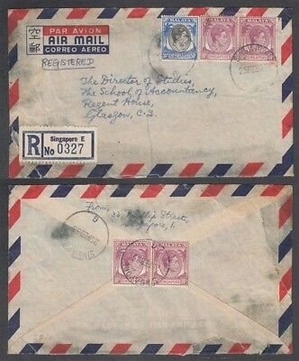 Singapore 1955 Kgvi Registered Airmail Cover To Glasgow (Id:675/d51983)