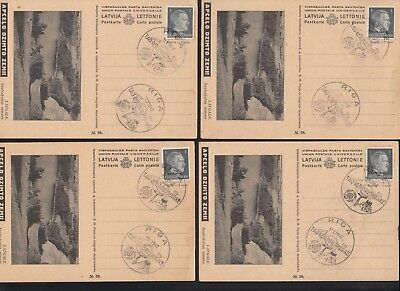 Germany 1942 Russian Occupation 8 Postal Cards, Riga Cancels
