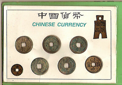 #D343.  Six(6)  Old  Chinese Cash Brass Coins