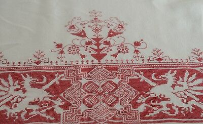 DRAGONS – ANTIQUE REDWORK LINEN TABLECLOTH w/ BEAUTIFUL EMBROIDERY TT798