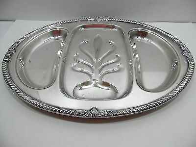 Silverplated Three Part Meat Platter Tray E.P.C.A. Bristol by Poole Oval Ornate