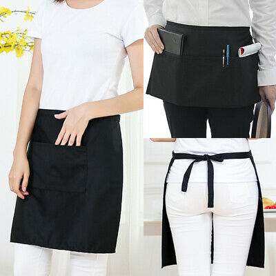 Black Unisex Waiters Waitress Chef Waist Half Short Restaurant Apron 2/3 Pockets