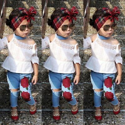 Summer Toddler Kids Girls Lace Tops Floral Denim Pants Jeans Outfits Set Clothes