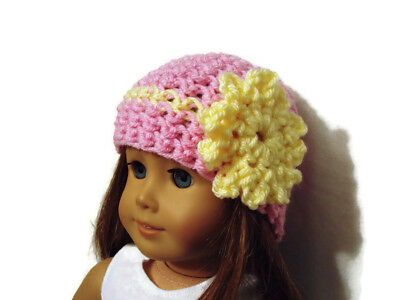 """Crochet Hat Fits American Girl Dolls 18"""" Doll Clothes Pink w/ Yellow Flower"""