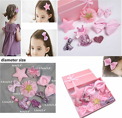 10 PCS/Pack Bow Hair Clip Accessories Pins with Gift Box for Baby Girl Toddler
