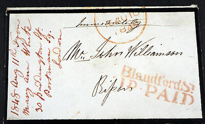 """1848, fine mourning cover """"BlandfordSt ID PAID"""""""