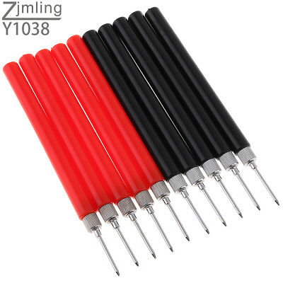 10PC Spring Test Probe Tip Insulated Hook Wire Connector Lead Pin for Multimeter