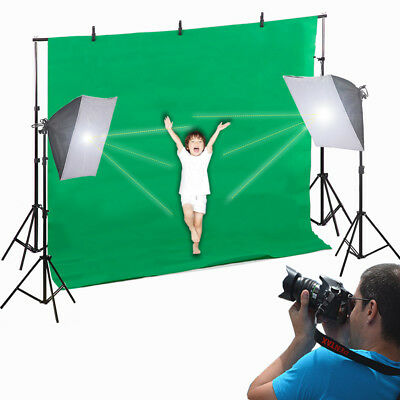 New Photo Video Studio Photography Continuous Lighting Kit Muslin Backdrop Stand