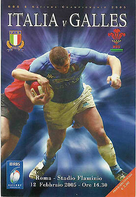 ITALY v WALES 2005 RUGBY PROGRAMME 12 FEBRUARY ROME GRAND SLAM SEASON FOR WALES