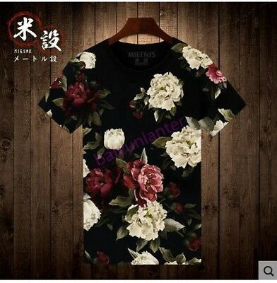 Mens Round Neck Floral Priting Short Sleeve T shirt fashion casual summer tops s