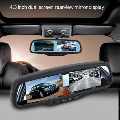 "Sale! 4.3"" Dual HD 800*480 Display Screen Car Rear View Parking Mirror Monitor"
