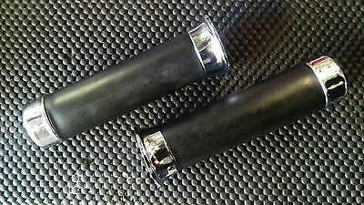 Vespa PX Disc Chrome and Black Rubber Handle Bar Grips Genuine Piaggio Part