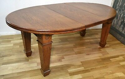 Vintage Antique Victorian Arts And Crafts Oak Extending Dining Table - 3529