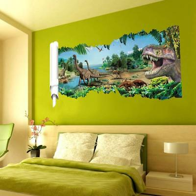 NEW Decor Large 3D View Dinosaur Wall Crack Sticker Art Decal Mural Kid Bedrooる