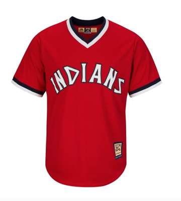 Majestic MLB Cleveland Indians Cooperstown Cool Base Replica Baseball Jersey