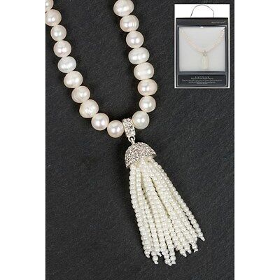 Equilibrium Silver Plated Fresh Water Pearl Tassel Necklace in Box (K3)