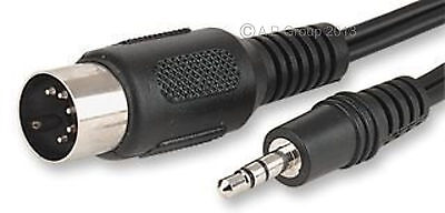 5 Pin DIN Plug AT MIDI Type to 3.5mm Stereo Jack Plug - 1.5 Metre Cable Lead New
