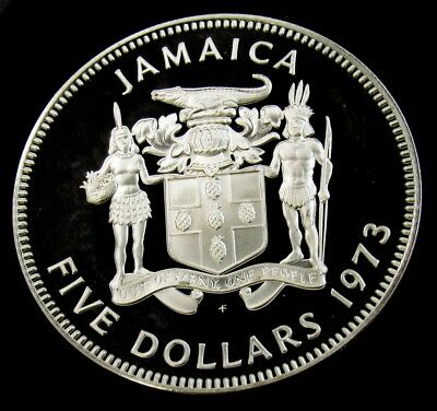 1973 Jamaica 5 Dollars Proof Sterling Silver - KM# 59 - ASW 1.2336