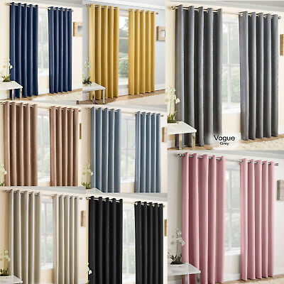 Eyelet Blockout Curtains Vogue Choice of Colours & Sizes