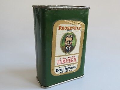 Rosevelt 1930s  40s Karasik Brothers Chicogo Turmeric powder can advertising tin