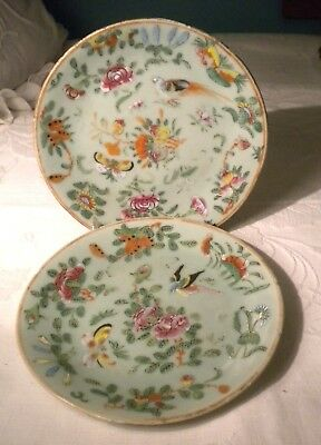 "Pair Celadon Hand Painted Butterfly Birds Plates 7 1/4"" Signed"