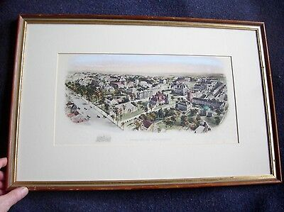 Richard Rummell Antique Art Watercolor Lithograph Princeton University 1906