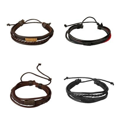 PU Leather Braided Cord String Pull Tie Adjustable Bracelet Mens Fashion