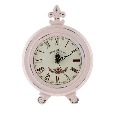 Antique Wooden Clock European Table Clock Home Decorative Clock Time Pink