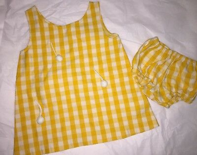 Vintage Girls 60's-70's Yellow & White Check Sunsuit Dress Outfit sz 4 yrs