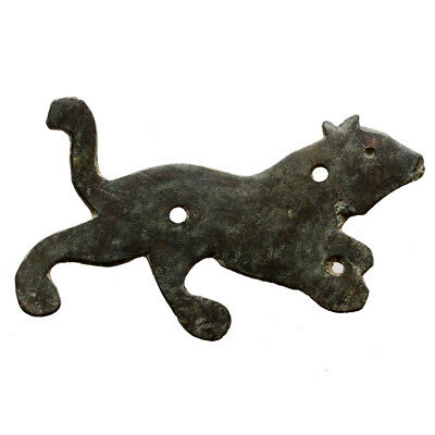 Scarce Roman Bronze Large Panther Plaque Ornament Circa 200-400 Ad
