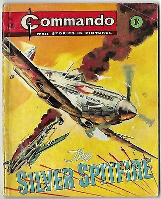 """Dated 1966. Vintage COMMANDO War Picture Comic # 199. """"The Silver Spitfire"""""""