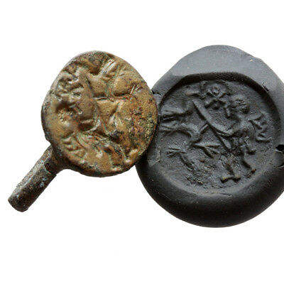 Rare Late Byzantine Bronze Seal Ring Circa 1200-1400 Ad