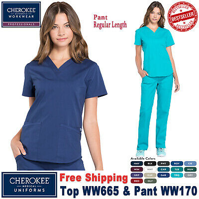 Cherokee Scrubs Set PROFESSIONAL Uniform V-Neck Top & Cargo Pant(WW665/WW170)_R