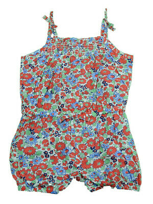 Carters Baby Girls Floral Bodysuit, Red/Blue/White/Green