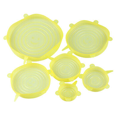 Silicone Super Stopper Lids Food Lids Stretch Kitchen Bowl Cup Cover Yellow
